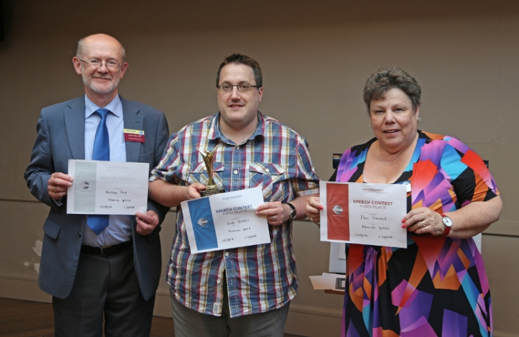 Toastmasters International | Doncaster Speakers |Humorous winners Andy Nicholls Anthony Day Jean Stewart