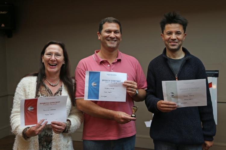 Doncaster Speakers | Toastmasters International | TT winners Andrew Miller Trevor Hatib Pauline Westrop