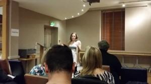 Bridget delivering her prepared speech