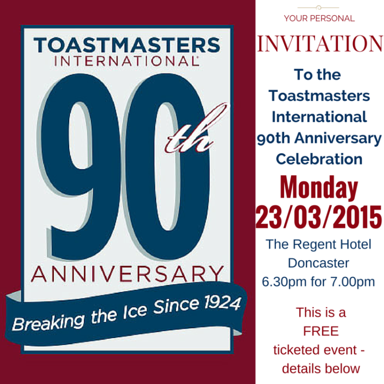 Toastmasters International 90th Anniversary Invitation